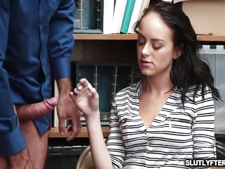 Kylie spread her legs wide open for officer to lick and fuck