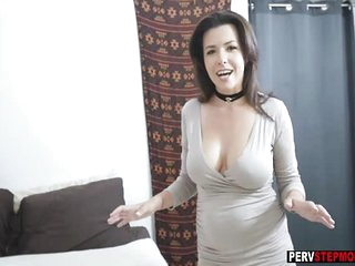 Stepson loves a smell of busty MILF stepmoms wet pussy