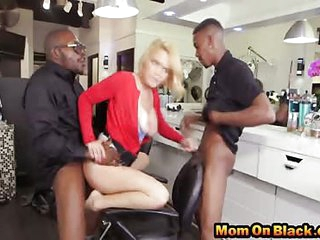 Buxom blonde milf smooth ass banged by BBC threesome