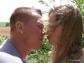 Small tits blonde mom fucks young cock