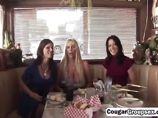 Big breasted cougars are hungry for that waiters fat cock