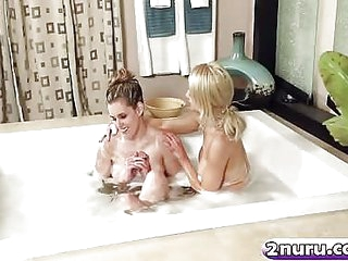 Blonde hottie pleasuring hairy cunt during a sensual massage with mature knockout