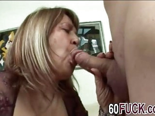 Younger stud drills chubby granny's cunt