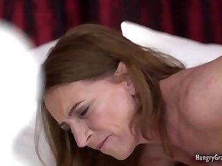 Horny redhead grandma banged by a guy half her age