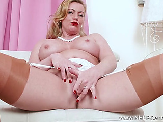 Perverted blond mother i'd like to fuck fingers moist fur pie in vintage nylon heels