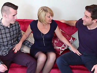 Hawt british mommy cum overspread by youthful sons