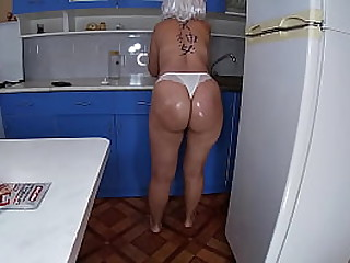 Step mom anal sex with son in the kitchen