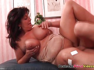 Fat German mature busty lady sucks and fucks her neighbour lover hard schlong