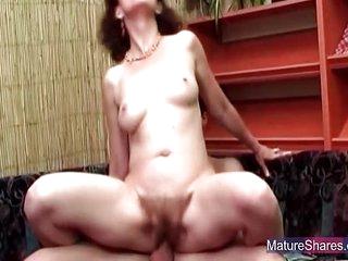 Mature Slut Gets Her Hairy Pussy Boned