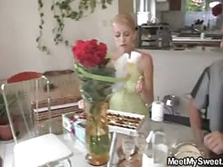 Blonde teen girlfriend for horny lesbian mom