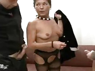 Russian granny needs dicks so bad she is fucked by two men at the same time
