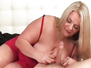 Chubby mature mom has to jack off any cock that is in front of her
