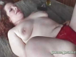 Redhead Gina Joins Drinking Buddy For Some Fun